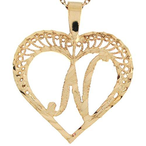9ct Or Superbe Pendentif Coeur Avec Initial Lettre N En Filigrane 2.92cm