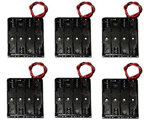 WAYLLSHINE 6PCS 4 x 1.5V AAA Battery Spring Clip Black Plastic 4 x 1.5V AAA Battery Case Holder Box Black Red Wire Leads