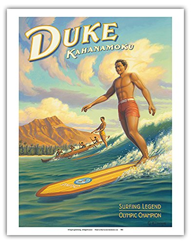 Duke Kahanamoku - Hawaii Surfing Legend, Olympic Champion - 16 Foot Koa Wood Longboard - Vintage Style Hawaiian Travel Poster by Kerne Erickson - Fine Art Print