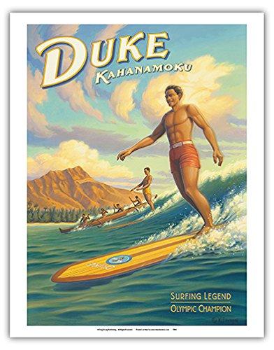 Duke Kahanamoku - Hawaii Surfing Legend, Olympic Champion - 16 Foot Koa Wood Longboard - Vintage Style Hawaiian Travel Poster by Kerne Erickson - Fine Art Print