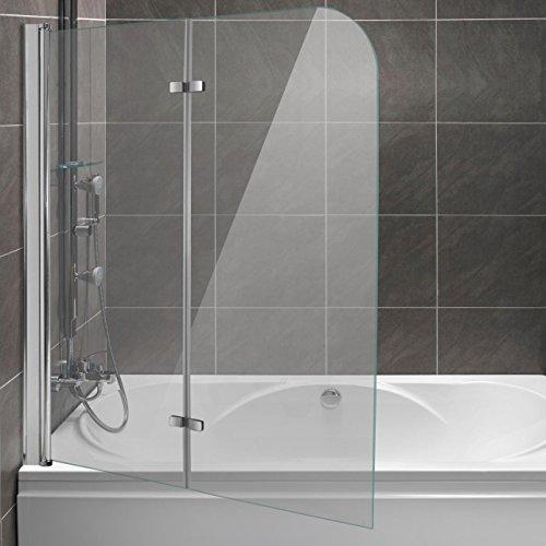 Homelux Badewannenaufsatz Badewannenfaltwand Faltduschwand (B x H) 120 x 140 cm, Sicherheitsglas 6 mm mit Lotuseffekt