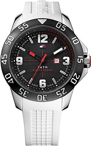 Tommy Hilfiger Men's 1790986 Cool Sport Black Ion-Plated Watch with White Strap Watch