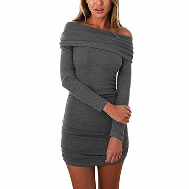 ede61662bb991e feiXIANGfrauen Bodycon Off Shoulder Mini - Kleid Damen Lange ärmel  elastischen Kleid Baumwolle Clubwear  Amazon.de  Bekleidung