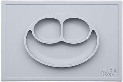 Ezpz Plato happy mat silicona pewter gris claro