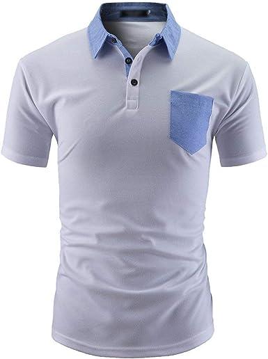 Camiseta De Polo para Hombre con Ajuste Camiseta Manga De Slim Fit Regular Corta con Bolsillo De Manga Corta Camiseta Polo con Cuello En V con Bolsillo En El Pecho: Amazon.es: Ropa