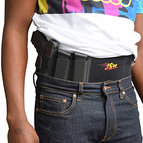 JSlay Sports Belly Band Holster for Concealed Weapons Comfortable Breathable Neoprene Material - Two Magazines and Cell Phone Pockets - One Size Waist - Strong Detachable Retention Strap