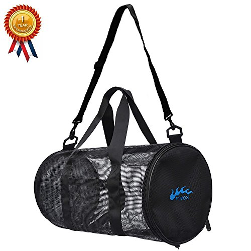FTEOX Sports Bag,Gym Bag Dive Bag Beach Bag Made from PVC Mesh Dry Quick Won't Smell Bad with Sweats for Sports,Gym,Diving,Swimming,Beach Gears(Black)
