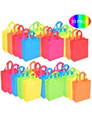 BOENFU 30 Pcs Party Bags with Handles Non-Woven Gift Tote Bags Toy Goody Favor Bag for Baby Shower, Birthday, Halloween, Christmas, Outdoor, Wedding Party Supplies