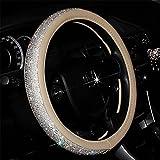 steering wheel cover crystal - MLOVESIE Leather Steering Wheel Cover with Crystal Bling Bling Rhinestones for Girls,Lady Universal Fit 38cm (Beige)