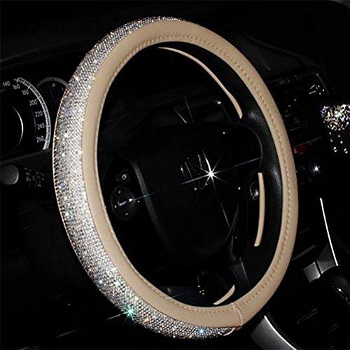 Full Sparkly Rhinestone car Steering Wheel Cover Leather Steering Wheel Cover Auto Car Styling Interior Decor Accessories (beige)