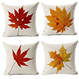 #9: Maple Leaves Throw Pillow Covers - Wonder4 Fall Decor Colorful Maple Leaves Cushion Cover Decor Autumn Leaf Pillow Cases Cotton Linen for Home Sofa Bedding 18x18 inches Set of 4