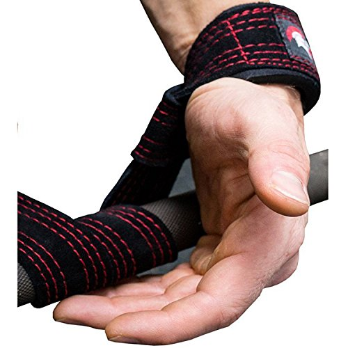 weightlifting straps for gym weight lifting closed loop supports super heavy padded elbow pulling bar workout hooks hand wrist under big pro leather suede men or women black fitness pads crossfit