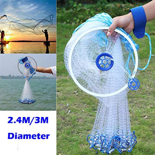 Catch Fish Network, Magic Fishing Net Fine Fish Aluminum Ring American Aluminum Ring Monofilament Thread Throwing Net (2.4 meters diameter, blue) by Sunsee (Image #2)