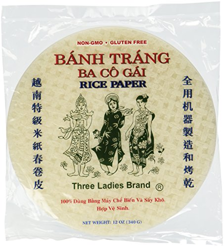 (Three Ladies Brand Spring Roll Rice Paper Wrapper (2 Packs) Round, 22cm )