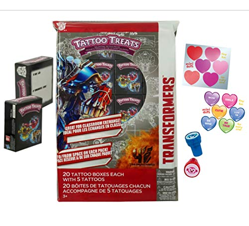 Transformers Valentine's Day Tattoo Treat Boxes (20 Pack) Bumblebee, Optimus Prime and Autobots With Bonus Heart Stickers and Stamps For Fun