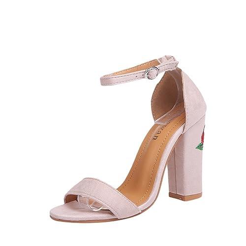 Alti Blocco Ricamo Zkooo Fiore Sandalo Donna Sandali Delle Tacco UqMVGLpSz