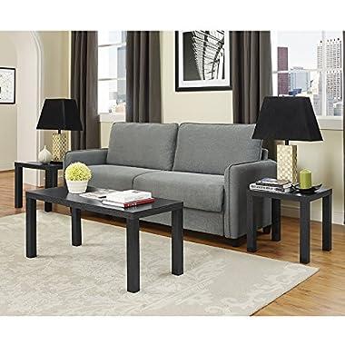 WE Furniture 3-Pack Wood Coffee Table Set, Black