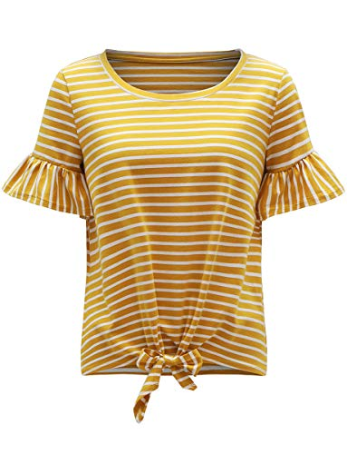 (Romwe Women's Short Sleeve Tie Front Knot Casual Loose Fit Tee T-Shirt Yellow L)