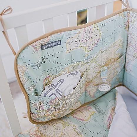 Protector de cuna para bebe con bolsillos Chichonera para cama beb/é de 120x60 para proteger la cabeza ESTRELLAS GRIS Ropa de cuna mapamundi.