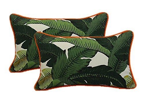 Set of 2 Indoor / Outdoor Decorative Lumbar / Rectangle Pillows - Tommy Bahama Green Tropical Swaying Palms w/ Orange Piping / Cording - Zipper Cover & Insert