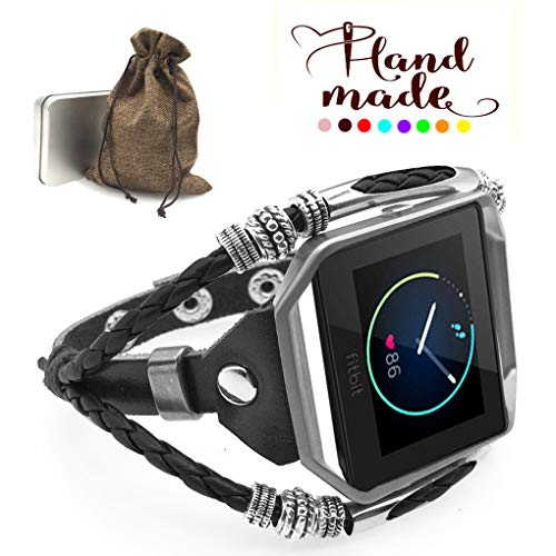 Marval.P Compatible with Fitbit Blaze Bands, Handmade Leather DIY Band, Replacement Bracelet Strap, Wristbands with Adjustable Size, Fashion Wrist Band Straps (Mystery Dark Black)