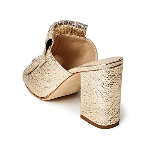 Xyd Cocktail Party Mule Shoes Donna Tacco Alto A Punta Aperta Slip On Sandali Estivi Oro