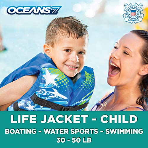 - New & Improved  Oceans7 US Coast Guard Approved, Child Life Jacket, Flex-Form Chest, Open-Sided Design, Type III Vest, PFD, Personal Flotation Device, Blue/White