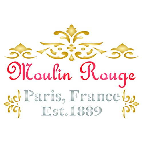 Moulin Rouge Stencil - 6.5 x 4.5 inch (S) - Reusable Vintage French Cancan Themed Wall Stencils for Painting - Use on Paper Projects Scrapbook Journal Walls Floors Fabric Furniture Glass Wood etc.