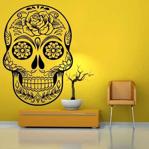 (Diggoo Mexican Sugar Skull Head Wall Decal Home Decor Vinyl Sticker dia de los muertos Halloween)