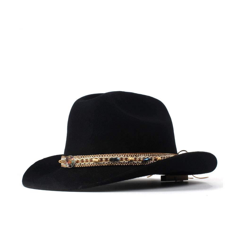 For women's hats 100% wool Men Cowboy Hat Men Women Hats With Tassel Belt Decoration Panoptic Brim Westerly Headwear Cap (Color : Black, Size : 56-59cm)