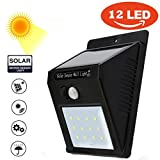 Fineser Solar Light Outdoor 12 LEDs,Motion Sensor Lights with Wide Angle Illumination, Wireless Waterproof Security Lights for Wall, Driveway, Patio, Yard, Garden