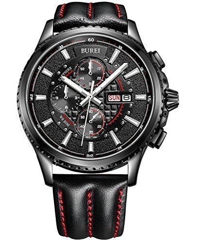 BUREI Men's Luminous Chronograph Day and Date Watch with Black Calfskin Band, Black Bezel Silver Hand