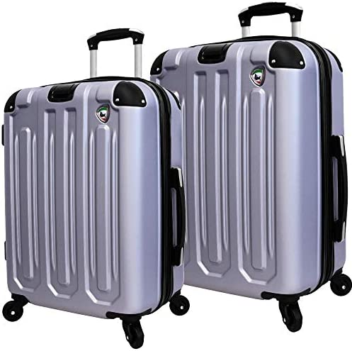 Mia Toro Italy Regale Composite Hardside Spinner Luggage 2pc Set, Grey, One Size