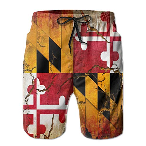 YongColer Summer Gift - Mens Vintage Wooden Maryland Flag Short Swim Trunks Quick Dry Breathable Sports Beach Surfing Running Swimming Board Shorts with Pockets (Maryland Swim Trunks)