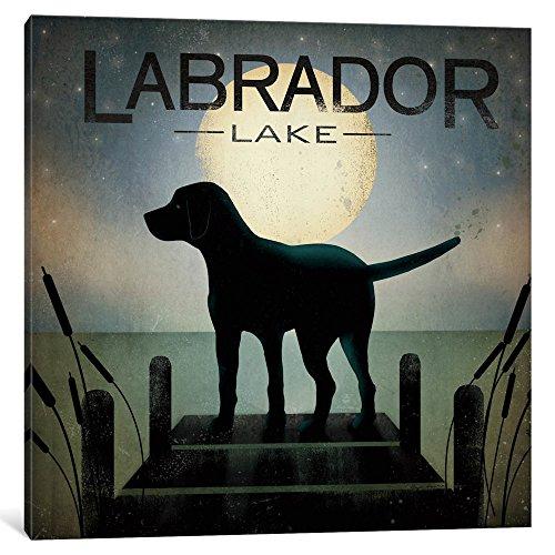 iCanvasART WAC1127-1PC3-12x12 Moonrise Black Dog Labrador Lake Canvas Print, 12 by 12-Inch, 0.75-Inch Deep