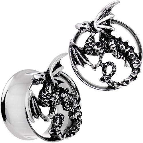 Body Candy Steel Angry Dragon Double Flare Tunnel Ear Gauge Plug Set of 2 3/4