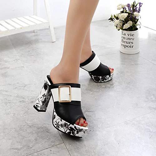 Donna Jia Con white Sandali Estivo Alto Tacco 37 Nuovi Metallo Da In 38 Scarpe E Europeo Fibbia Americano Hong Black 1qawxYtr1