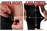 ODODOS Power Flex Boot Cut Yoga Pants Tummy Control Workout Running 4 way Stretch Boot Leg Yoga Pantss With Hidden Pocket,Black,Large