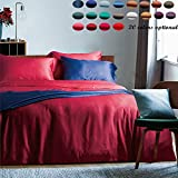 60 Threads Count Bedding Sets - Long-staple Cotton Pure Color Duvet Cover and Fitted Sheet Full Red