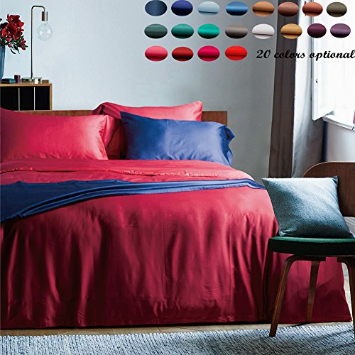 60 Threads Count Bedding Sets - Long-staple Cotton Pure Color Duvet Cover and Fitted Sheet Full Red by bigxxx