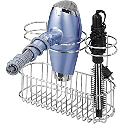 mDesign Bathroom Wall Mount Hair Care & Styling Tool Organizer Storage Basket for Hair Dryer, Flat Iron, Curling Wand, Hair Straighteners, Brushes - Durable Steel Wire in Chrome Finish
