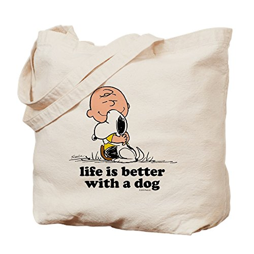 CafePress Charlie Brown: Life Is Better With A Dog Natural Canvas Tote Bag, Reusable Shopping Bag