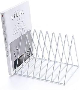 Yagote File Holder Stand 9 Slot Metal Desktop Book Shelf Book Stand File Organizer Magazine Rack for Home Office Decoration (Standard Shelf, White)