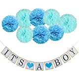 Coobey IT'S A Boy Garland Bunting Banner with 8 Pieces Tissue Paper Flower Pom Poms Party Photo Props for Baby Shower Decorations