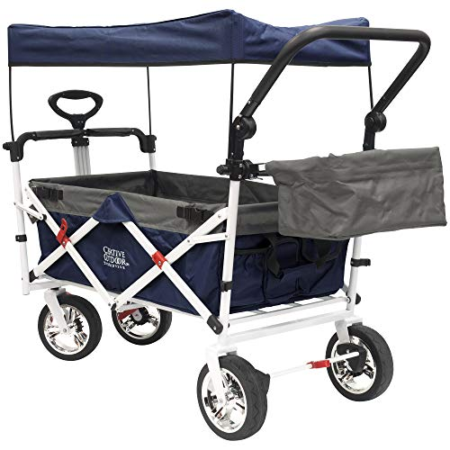 Creative Outdoor Distributor Push Pull Wagon for Foldable with Sun/Rain Shade (Navy)]()