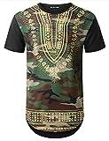 URBANTOPS Mens Hipster Hip Hop Camouflage Dashiki Longline T-Shirt Black, XL