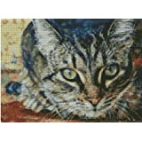 I see you,cat counted cross stitch kits 14 ct, 見つけました,猫 クロスステッチキット150x110 ポイント、37x20cm クロスステッチ