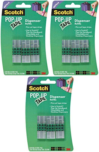 Scotch Pop-Up Tape Refills, 3/4 x 2 Inches, 75 Strips/Pad, 3 Pads/Pack (99-G) Pack of 3