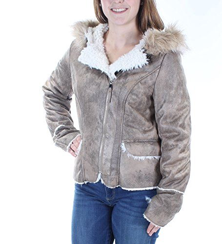 Wild Flower Womens Faux Fur Lined Hooded Jacket Taupe M (Rose Jackets Taupe)