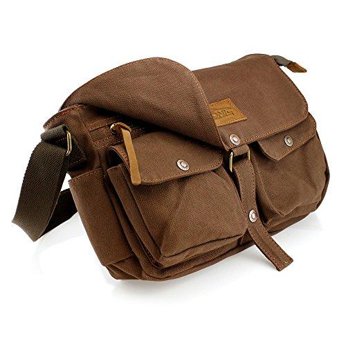 97ce843decf GEARONIC TM Men s Vintage Canvas Leather Tote Satchel School Military  Shoulder Messenger Sling Crossbody Hiking Bag